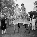 1962 Jacqueline Kennedy perches on camel in Karachi