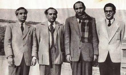 Progressive writers (left to right) Sibte Hasan, Faiz Ahmed Faiz, Hameed Akhtar and Ahmed Nadeem Qasmi